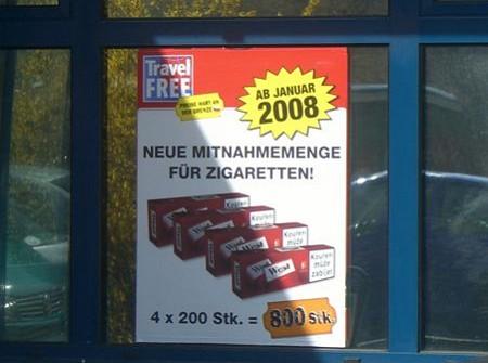 aus Tschechien 800 Zigaretten erlaubt
